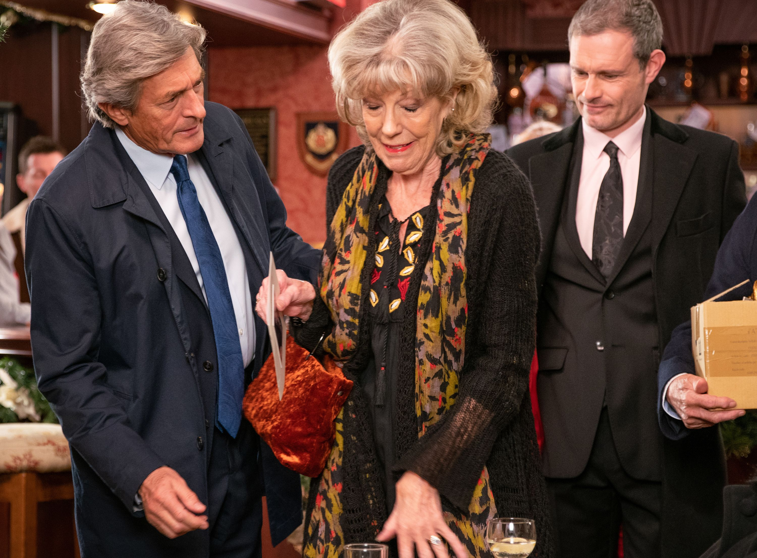 Audrey Roberts returns from Archie Shuttleworth's funeral in Coronation Street