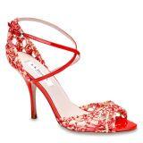 Product, Red, White, High heels, Fashion accessory, Sandal, Carmine, Pattern, Basic pump, Bridal shoe,