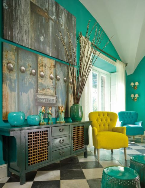 Green, Blue, Room, Interior design, Turquoise, Teal, Floor, Wall, Furniture, Drawer,