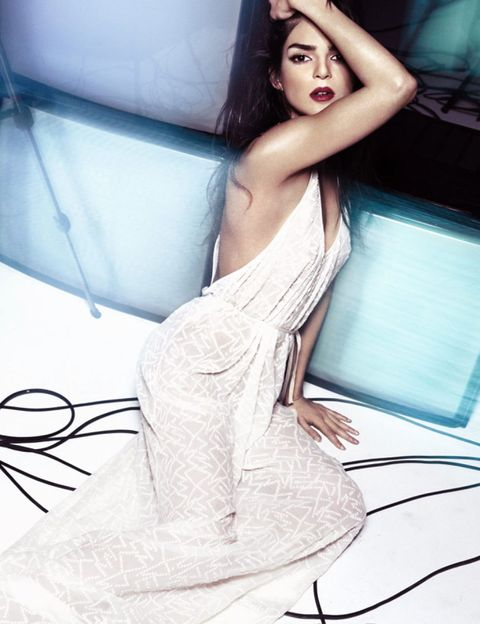 Mouth, Shoulder, Joint, Elbow, Dress, Black hair, Comfort, Fashion model, Model, Long hair,