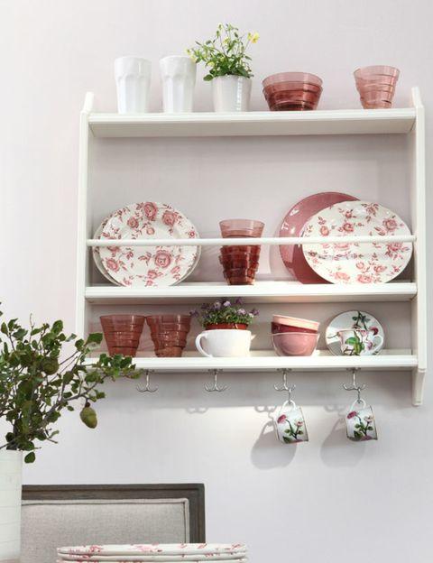 Serveware, Dishware, Porcelain, Ceramic, Wall, Shelving, earthenware, Pottery, Interior design, Artifact,