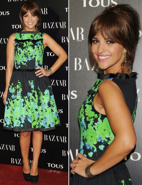 Clothing, Arm, Smile, Green, Hairstyle, Eye, Dress, Facial expression, Style, Pattern,