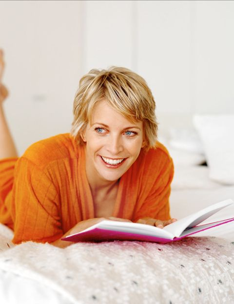 Comfort, Sitting, Happy, Tooth, Blond, Reading, Publication, Learning, Laugh, Book,