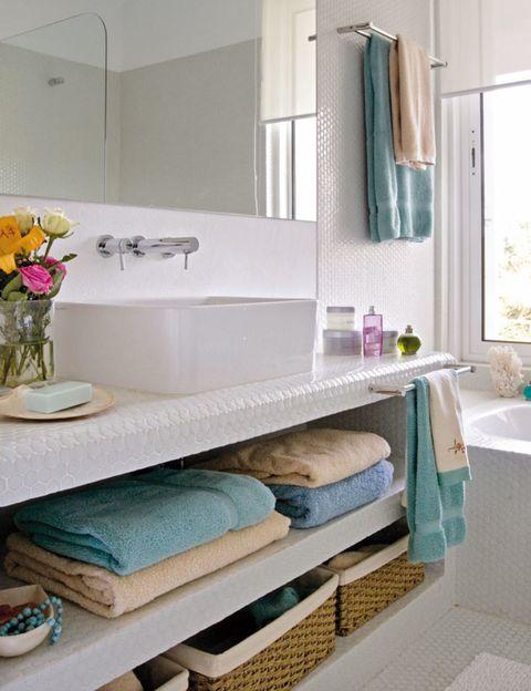 Room, Interior design, Teal, Plumbing fixture, Turquoise, Wall, Aqua, Bouquet, Azure, Interior design,