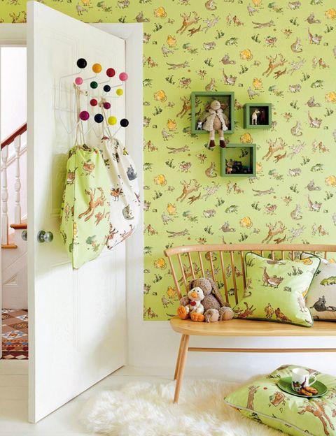 Green, Yellow, Room, Interior design, Textile, Pink, Interior design, Stuffed toy, Creative arts, Throw pillow,