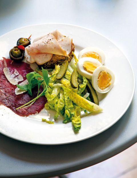 Food, Cuisine, Ingredient, Egg yolk, Dishware, Dish, Breakfast, Serveware, Plate, Meat,