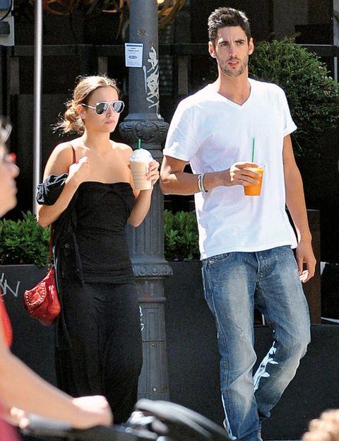 Clothing, Trousers, Denim, Jeans, Shirt, Dress, T-shirt, Sunglasses, Drink, Street fashion,