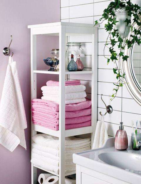 Room, Interior design, Pink, Wall, Linens, Shelving, Grey, Cabinetry, Teal, Interior design,