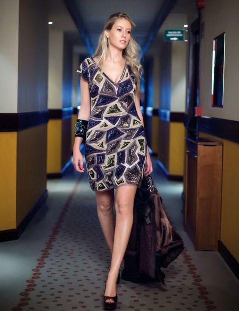 Clothing, Footwear, Dress, Shoulder, Human leg, Joint, Fashion show, One-piece garment, Style, Flooring,