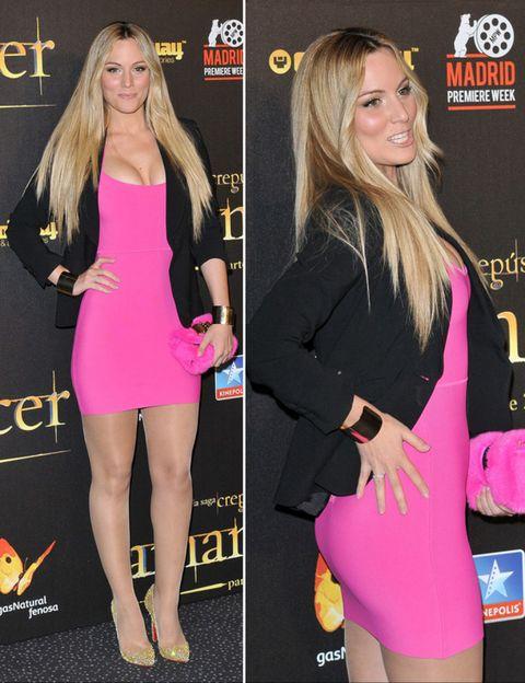 Outerwear, Pink, Style, Dress, Fashion accessory, Thigh, Logo, Fashion, Blond, Premiere,