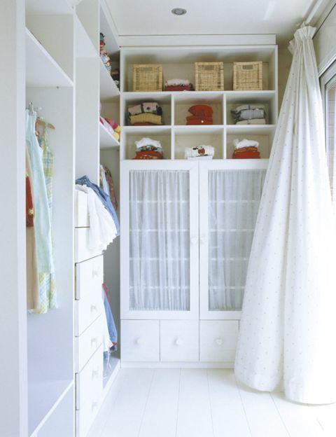 Room, Interior design, Wall, Floor, Fixture, Shelving, Curtain, Shelf, Window treatment, Molding,