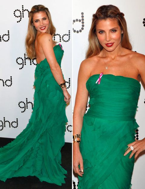 Clothing, Hair, Arm, Green, Dress, Hairstyle, Shoulder, Joint, Red, Formal wear,