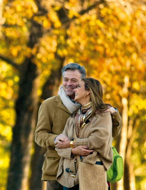 Happy, People in nature, Facial expression, Coat, Fashion accessory, Beard, Autumn, Love, Bag, Laugh,