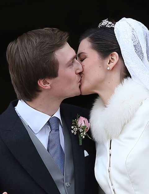 Clothing, Coat, Forehead, Photograph, Outerwear, Kiss, Happy, Suit, Formal wear, Bride,