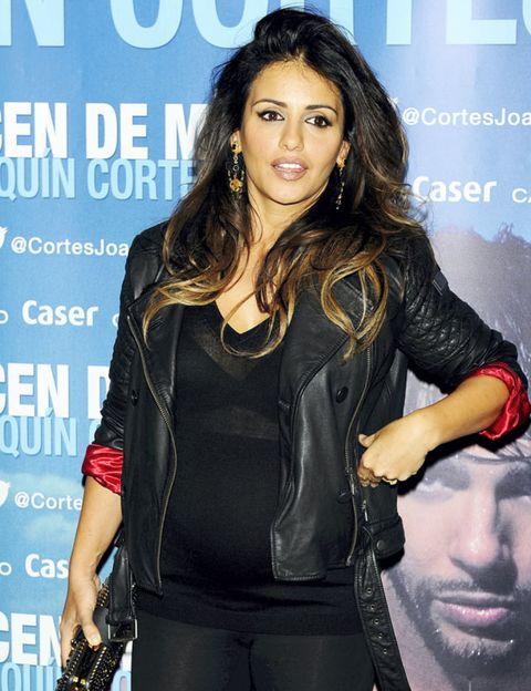 Mouth, Sleeve, Black hair, Leather, Jacket, Leather jacket, Long hair, Belt, Fashion model, Layered hair,