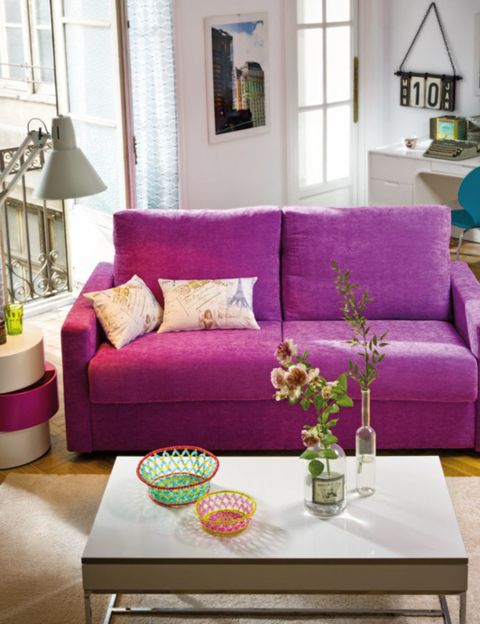Room, Interior design, Green, Yellow, Living room, Furniture, Home, Purple, Table, Wall,