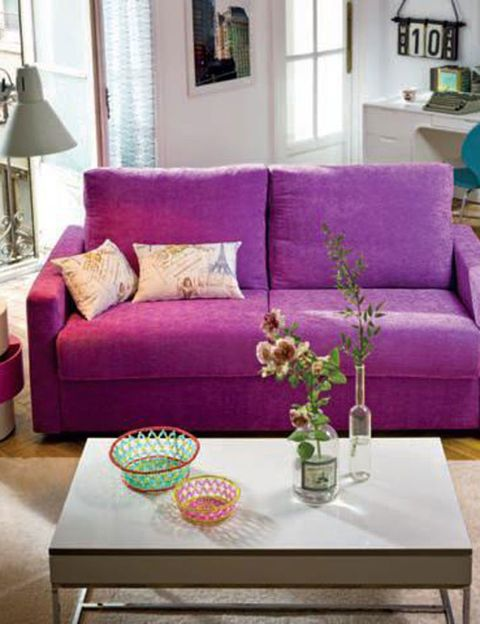 Blue, Room, Interior design, Living room, Furniture, Wall, Table, Home, Purple, Couch,