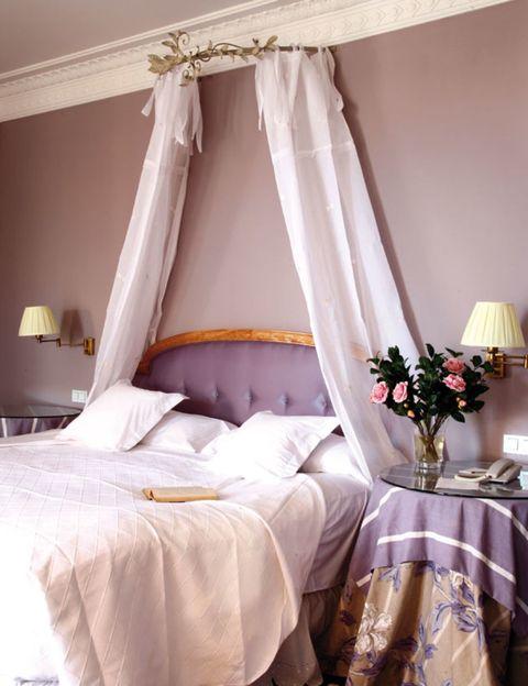 Room, Interior design, Tablecloth, Textile, Linens, Bed, Interior design, Bedding, Lamp, Bedroom,