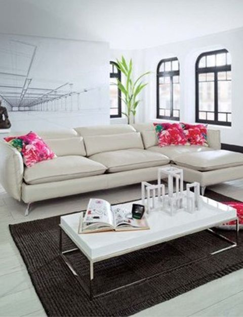 Room, Interior design, Living room, Furniture, Table, Home, White, Wall, Couch, Pillow,