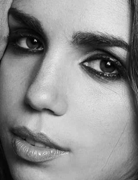 Nose, Lip, Eye, Skin, Eyelash, Forehead, Eyebrow, Style, Iris, Monochrome photography,