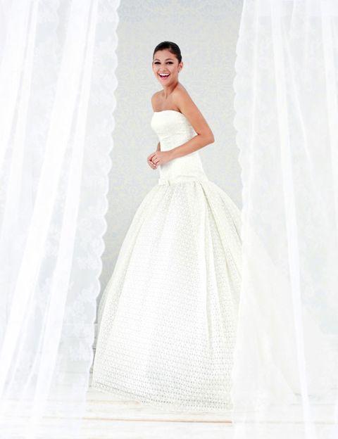 Clothing, Sleeve, Dress, Shoulder, Bridal clothing, Textile, Photograph, White, Gown, Wedding dress,