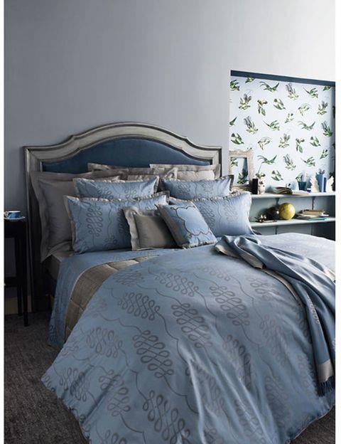 Blue, Bed, Room, Interior design, Property, Textile, Bedding, Bedroom, Wall, Linens,