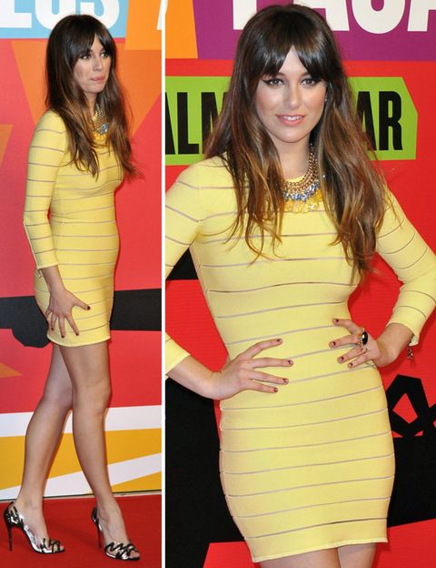 Clothing, Yellow, Hairstyle, Dress, Shoulder, Flooring, Joint, Red, Formal wear, Style,