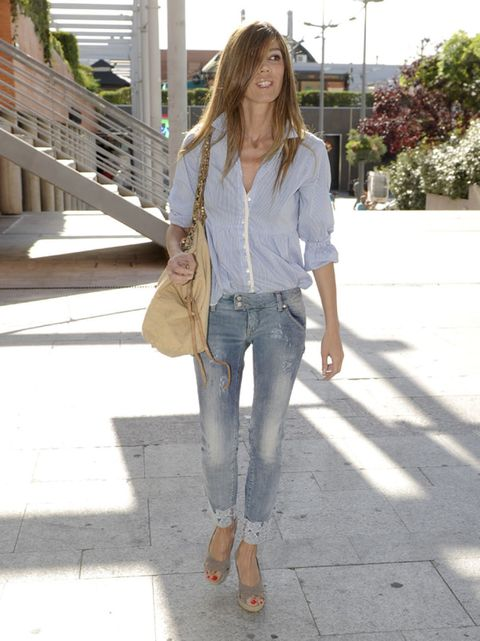 Clothing, Brown, Denim, Textile, Bag, Joint, Jeans, Outerwear, White, Style,