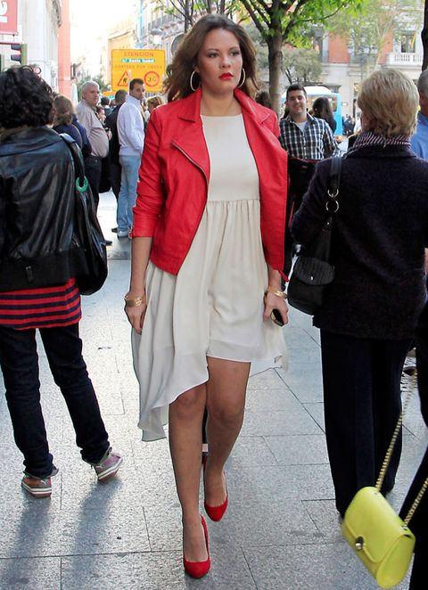 Clothing, Footwear, Leg, Trousers, Red, Outerwear, Bag, Coat, Jacket, Style,