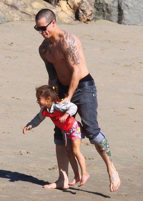 Leg, Fun, Human body, Hand, Sand, Barefoot, People in nature, Summer, Sunglasses, board short,