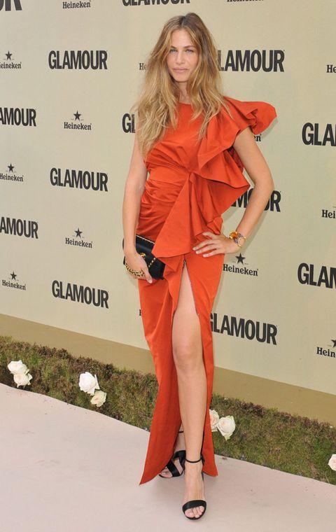 Clothing, Footwear, Leg, Human leg, Joint, Outerwear, Style, Fashion model, High heels, Orange,