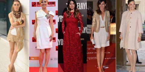 Clothing, Leg, Dress, Flooring, Red, Outerwear, Coat, Formal wear, Style, Carpet,