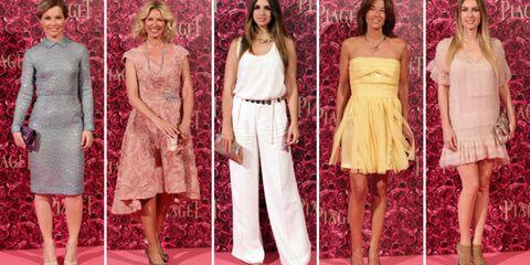 Footwear, Dress, Textile, Red, Formal wear, Pink, Waist, Style, Flooring, One-piece garment,