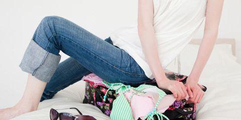 Denim, Jeans, Textile, Elbow, Sitting, Bag, Comfort, Thigh, Street fashion, Goggles,