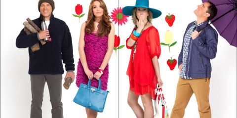 Clothing, Leg, Trousers, Hat, Red, Outerwear, Coat, Bag, Fashion accessory, Costume accessory,