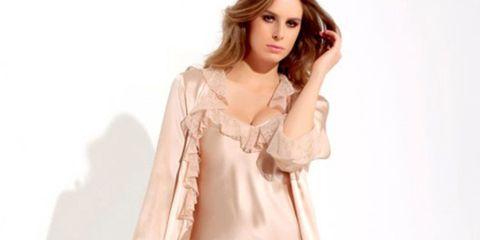 Sleeve, Shoulder, Textile, Joint, Standing, Dress, Formal wear, Peach, Fashion, One-piece garment,