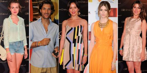 Hair, Face, Dress, Fashion, Orange, One-piece garment, Cocktail dress, Premiere, Day dress, Denim,