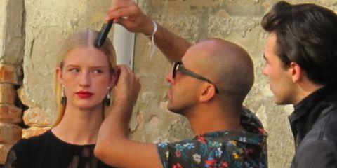 Ear, Denim, Temple, Box, Makeover, Fashion design, Crew cut, Gesture, Belt, Makeup artist,