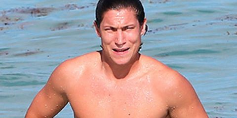 Mouth, Cheek, Skin, Chin, Water, Barechested, Chest, People in nature, Summer, Muscle,