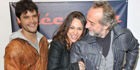 Smile, Jacket, Eye, Textile, Facial expression, Leather, Beard, Leather jacket, Facial hair, Laugh,