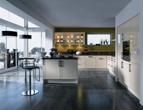 Floor, Interior design, Room, Property, Flooring, Countertop, White, Major appliance, Glass, Cupboard,
