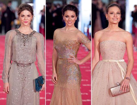 Clothing, Dress, Shoulder, Joint, Waist, Happy, Formal wear, Style, Jewellery, One-piece garment,