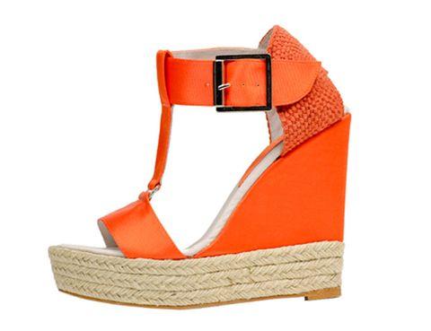 Brown, Product, Orange, Tan, Wedge, Strap, Leather, Beige, Sandal, Peach,