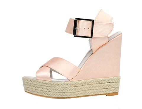 Brown, Tan, Sandal, Wedge, High heels, Beige, Khaki, Strap, Fawn, Slingback,