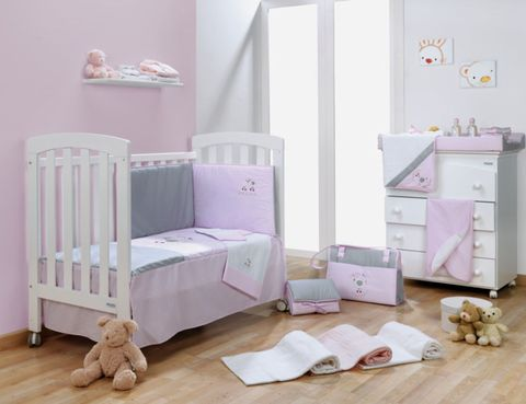 Product, Room, Wood, Interior design, Pink, Infant bed, Floor, Purple, Wall, Cabinetry,