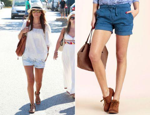 Clothing, Leg, Brown, Denim, Textile, Human leg, White, Fashion accessory, Style, Summer,