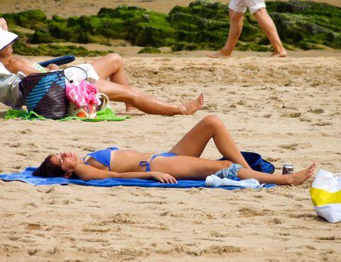 Leg, Fun, Sand, Human leg, Summer, Beach, Sun tanning, Brassiere, Undergarment, Thigh,