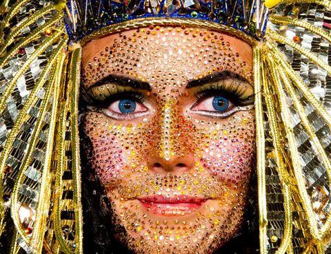 Tradition, Headgear, Temple, Eyelash, Close-up, Facial hair, Festival, Headpiece, Mythology,