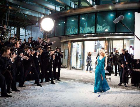 Lighting, Coat, Suit, Formal wear, Dress, Winter, Gown, Teal, Aqua, Light fixture,