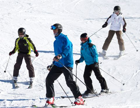 Clothing, Footwear, Sports equipment, Recreation, Winter sport, Trousers, Snow, Standing, Ski Equipment, Skier,